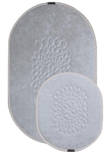 ikinciten Banyo Klozet Paspası Halısı 2'Li Takım Kaymaz Yıkanabilir 100X60-60X50 Krem Krem